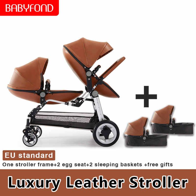 Pengiriman Cepat! Mewah Kembar Stroller Bingkai Aluminium Kulit Twin Dorong Bayi Dapat Duduk dan Berbaring dengan Kursi Mobil Double Stroller