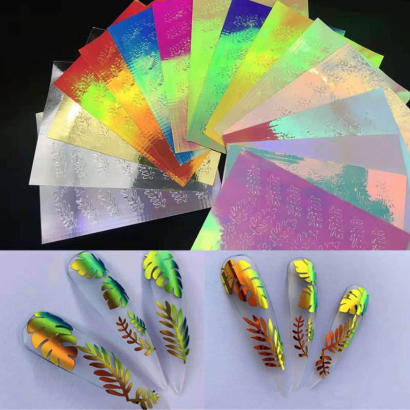 16pcs Holo Leaves Fire Nail Sticker Self Adhesive Flame Nail Decals Laser Aurora Flame Colorful Reflections Self-Adhesive Foils