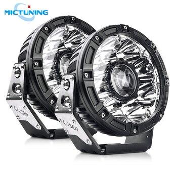 MICTUNING 2pcs 7'' Car LED Driving Work Light Pods with Laser Light 10-30V Highspeed Spot Lamps for Offroad Vehicles SUV UTV ATV