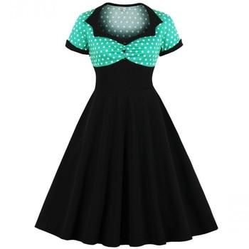 Talla grande 3XL 4XL verano mujeres vestido Retro Mujer Polka Dots Pinup Rockabilly Sexy Vestidos de fiesta Vintage túnica Vestidos Mujer