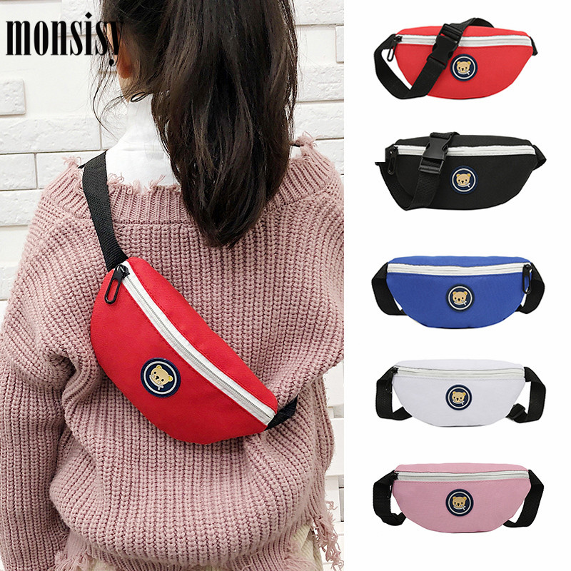 Monsisy Children's Belt Bag Kid Fanny Packs Waist Bag For Boy Girl Chest Pack Cute Bear Coin Purse Phone Pouch Baby Belt Bolsa