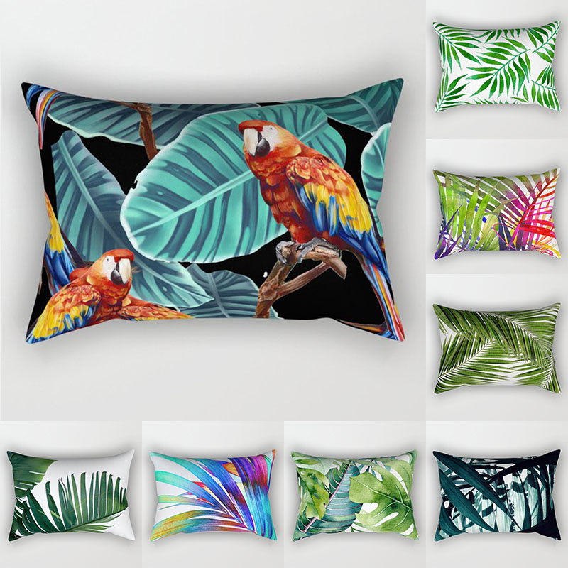 Decorative Throw Pillows Tropical Plants Pillow Cover 30x50 Polyester Cushion Cover Decoration Pillowcase Cushions Home Decor