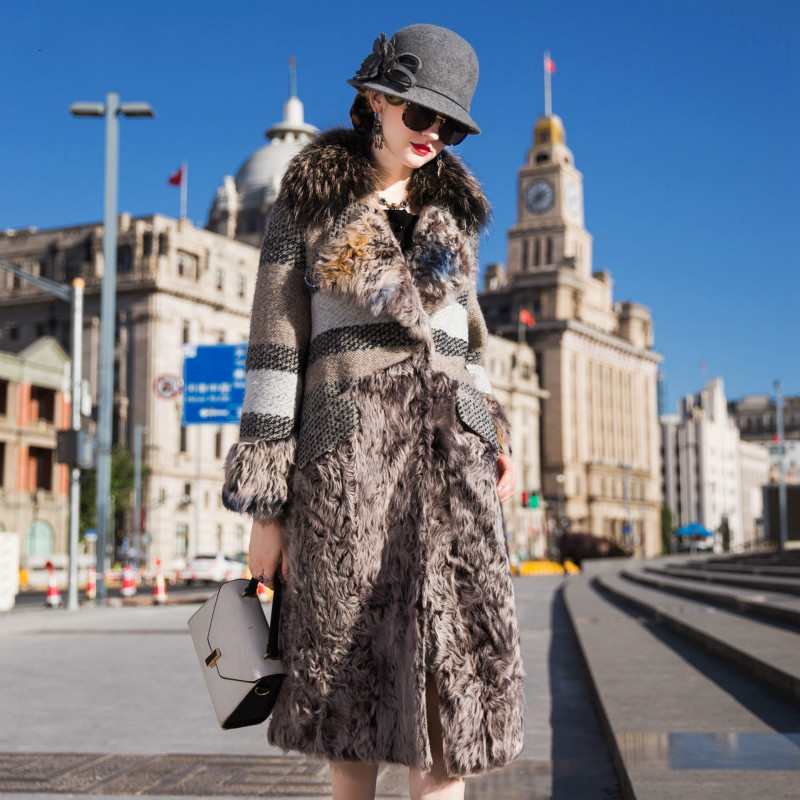 Natural Real Fur Coat Female Raccoon Dog Fur Wool Jacket Winter Coat Women Clothes 2019 Korean Long Warm Double-faced Fur Tops
