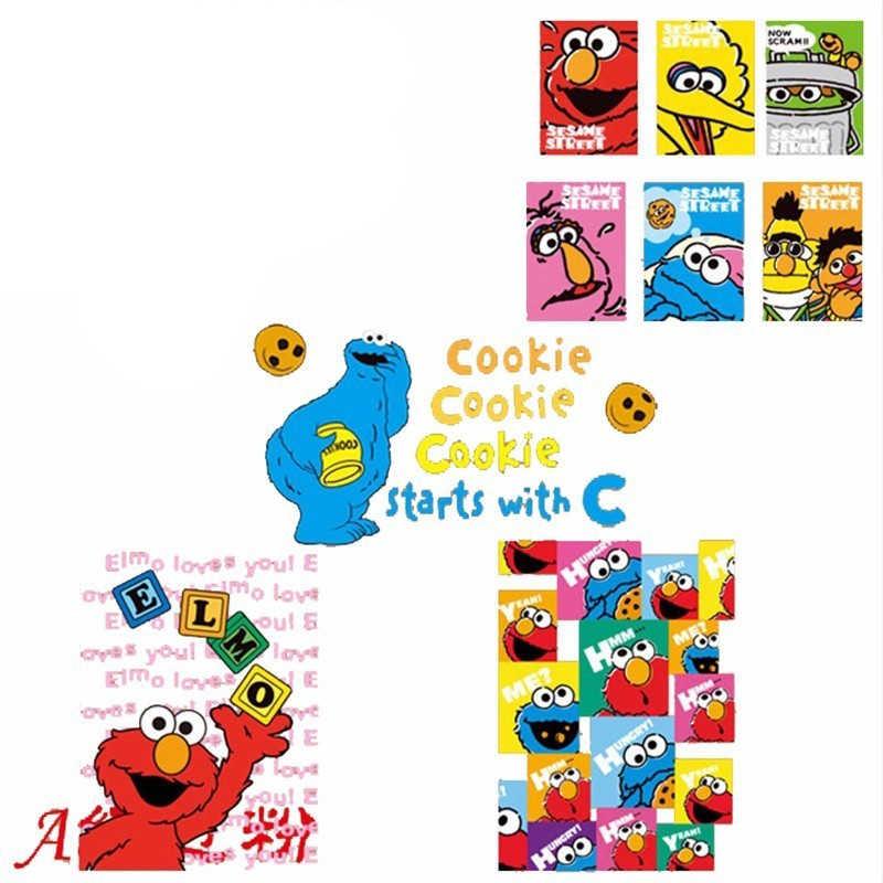 Anime Sesame Street Patch Cookie Monster Elmo Big Bird Cartoon Iron On Transfer Patches For Kids Clothes Applique Diy Heat Press