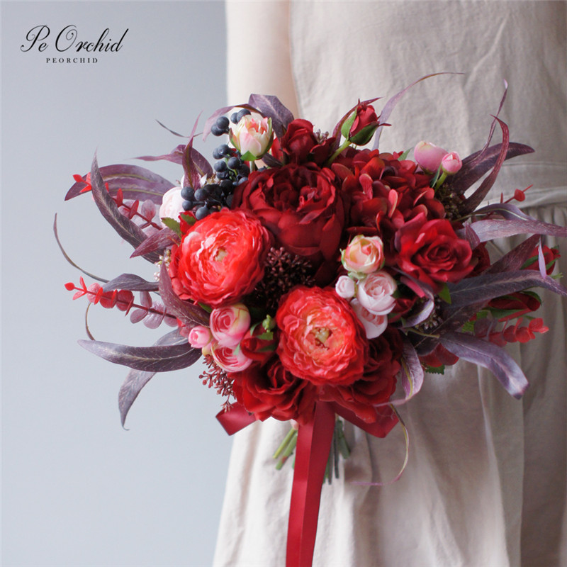 PEORCHID Burgundy Roses Red Bridal Bouquet 2020 Brand New Ramo Dama Honor Wedding flowers Bride Vintage Bouquets