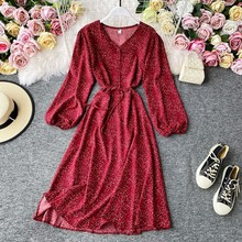 Korean Red Elegant Sexy Dress Women 2020 Autumn Vintage V-neck Polka Dot Midi Dressvs Chiffon Long Sleeve Korean Dress Vintage(China)