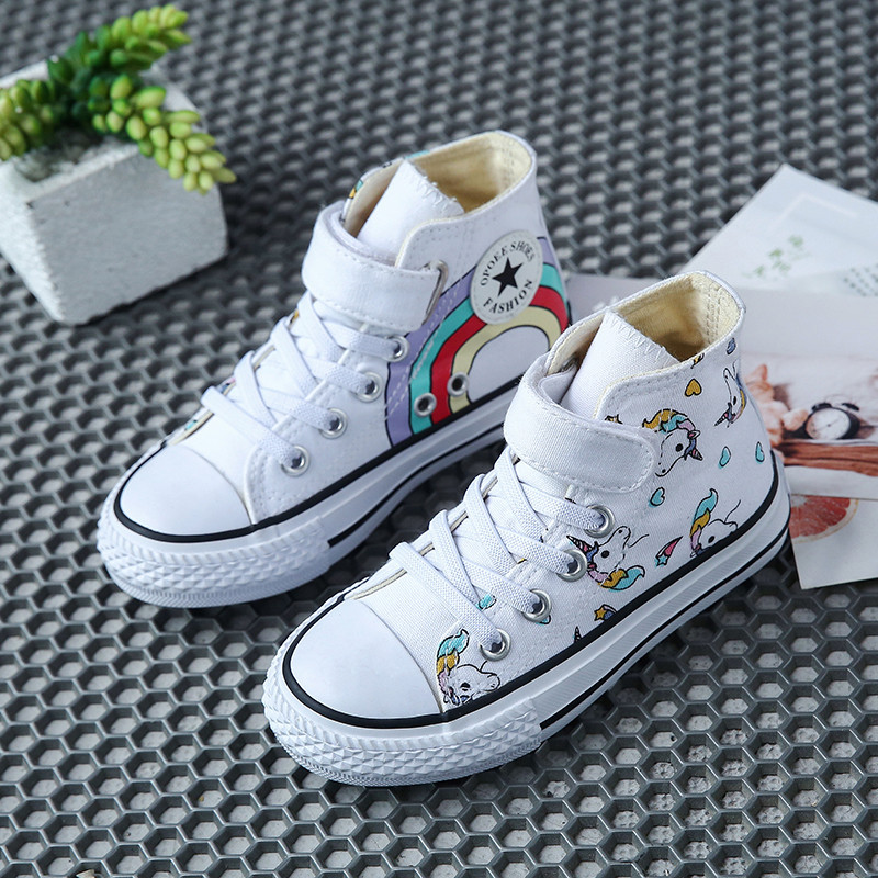 Fashion Canvas Cartoon Doodle Children's Shoes Children's Sneakers Rainbow Casual Shoes Girls Comfortable High-top Flat Shoes