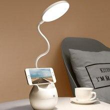 Lâmpada de mesa led luz regulável estudo proteção para os olhos usb portátil multifuncional suporte da pena lâmpada mesa do telefone noite lanterna