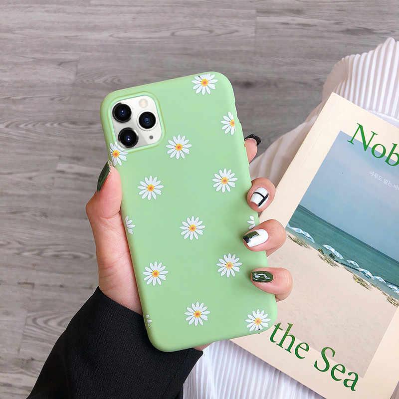 Capa para celular de margarida artística, capa de celular para iphone 11 x xr xs max 6s 7 8 7plus 5 capa floral de tpu macio para trás, capas da moda