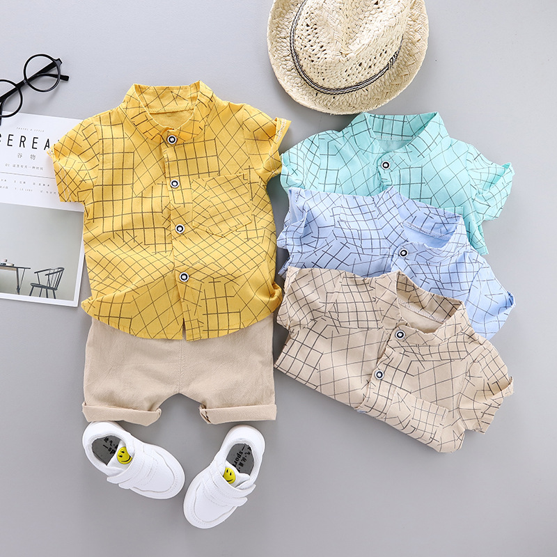 Summer Fashion Kids Set Set Baby Clothing Set For Boys Cute Casual Clothes Set Lattice Top Shorts Infant Suits Kids Clothes