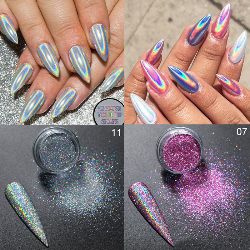 0.3g Holographic Powder Nails Laser Silver Pink Glitter Chrome Nail Powder Shimmer Gel Polish Flakes For Manicure Pigment