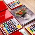 Faber-castell 24/36/48 cor sólida aquarela caixa de pintura com pincel cor brilhante watercolor portátil pigmento arte suprimentos