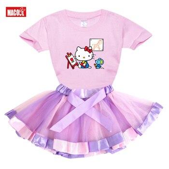 2020, camiseta de Hello-Kitty para niñas, vestido de tutú de verano de manga corta para niñas, conjunto de 2 uds de princesa arco iris para niños y niñas, ropa para niños