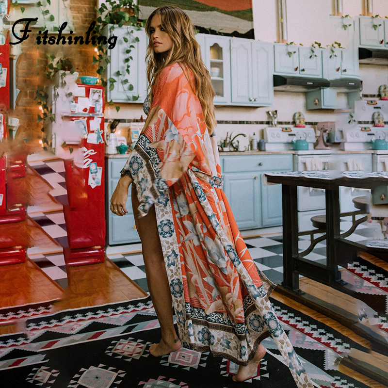 Fitshinling Oversize Beach Cover Up Kimono Vintage Print Floral Holiday Bikini Outing Boho Loose Long Cardigan 2020 Orange Coat