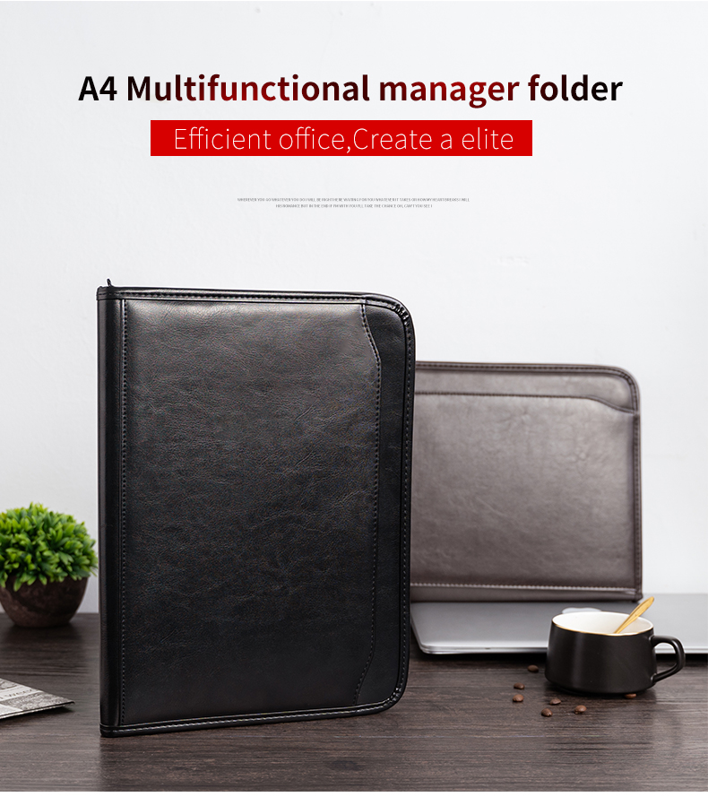 A4 Document Folder A4 Padfolio PU Leather Office School Supply File Folder Padfolio With Calculator Folder Manager