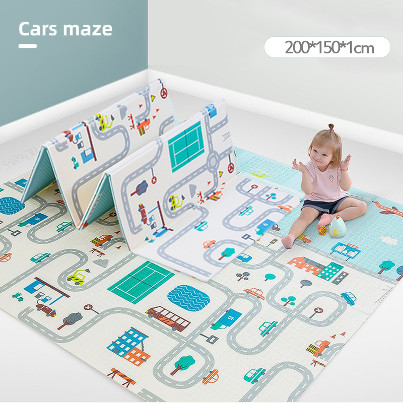 200X100X1CM Baby Mat 1CM Thickness Cartoon XPE Kid Play Mat Foldable Anti-skid Carpet Children Game Mat Infantil Home Baby Room