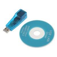 USB 1.1 Para LAN Ethernet RJ45 10/100Mbps Placa de Rede Adaptador Para Win7 Win8 Android Tablet PC Azul atacado