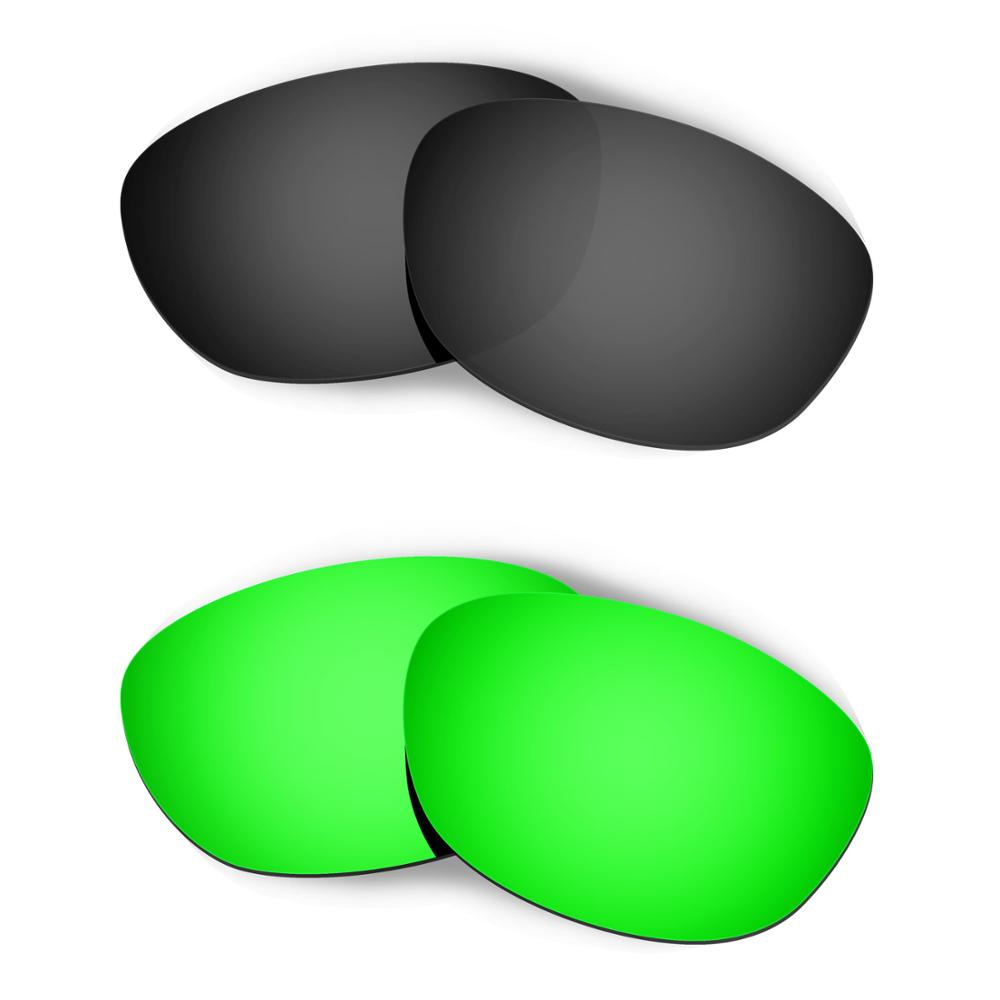 HKUCO For Fives 2.0 Sunglasses Replacement Polarized Lenses 2 Pairs - Black & Green