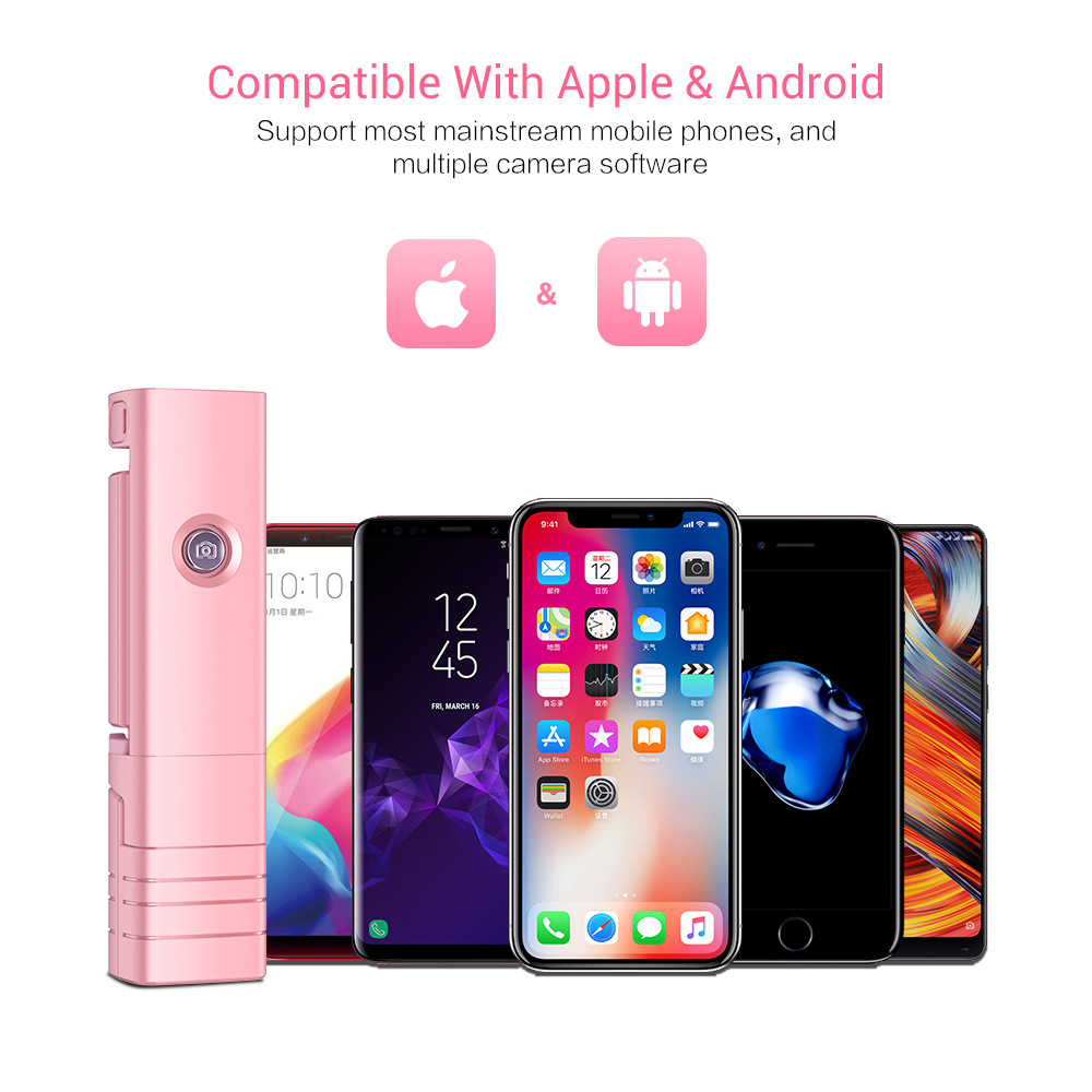Mini Selfie Stick Wireless Bluetooth Selfie Stick For iPhone Candy Color Handheld Extendable LED Fill Light Selfie Stick in Selfie Sticks from Consumer Electronics