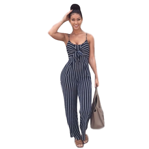 Hirigin Striped Jumpsuit Sleeveless Spaghetti Strap Square Collar Bow Party Club Romper Women Sexy Playsuit Strappy Bodysuit