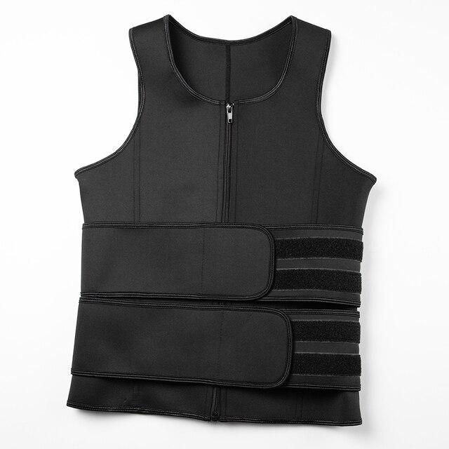 Men Body Shaper Sauna Vest Waist Trainer Zip Double Belt Sweat Shirt Corset Top Abdomen Slimming Shapewear Fat Burn Fitness Top 5