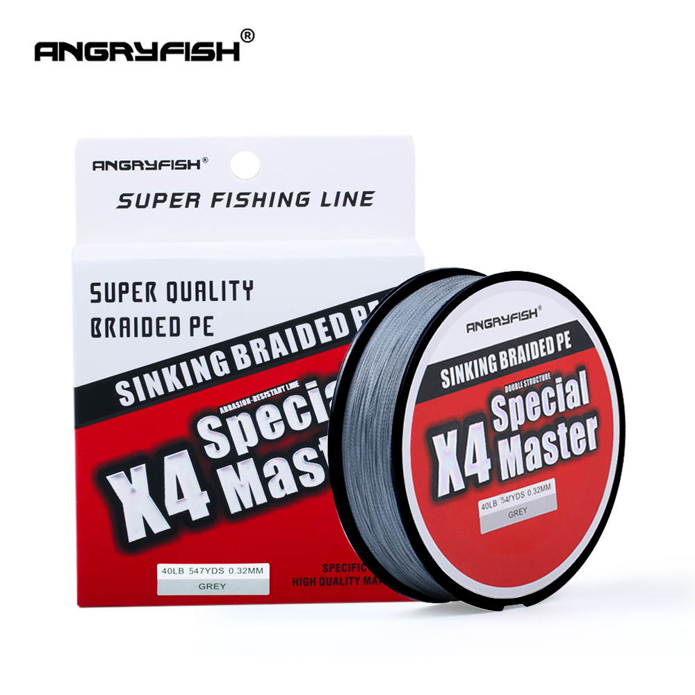 Angryfish X4 500M Master Series 4+1 Fast Sinking Braided Line Double Structre Smooth Strong Tension Braided PE 12-80LB