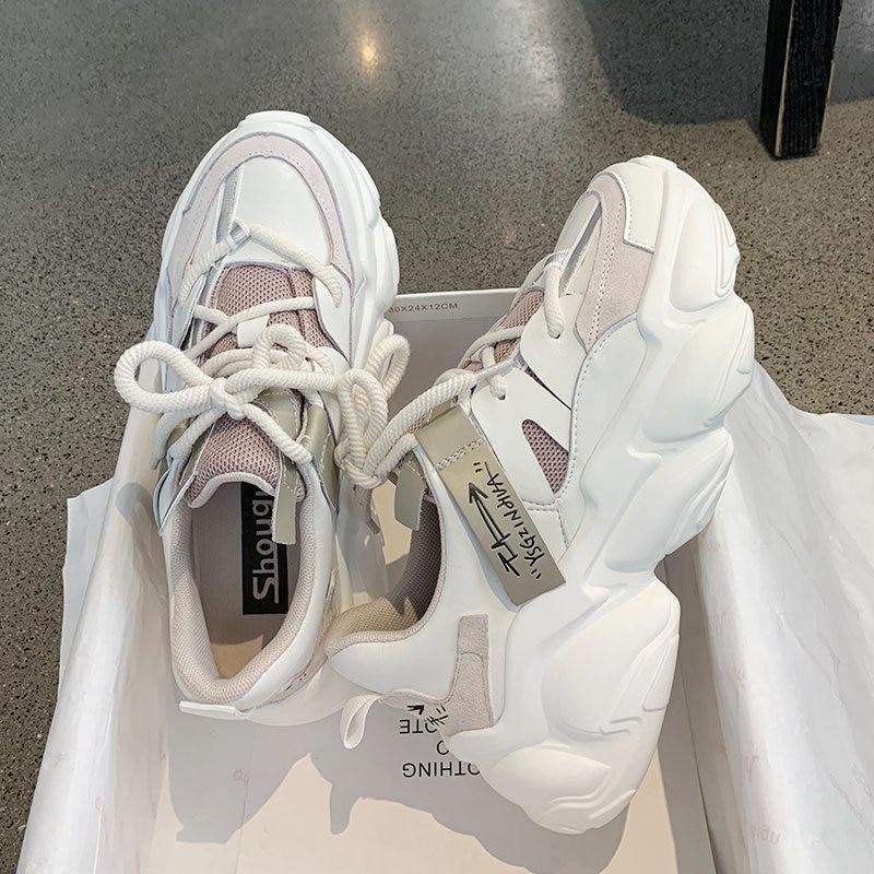 2020 Autumn Women Chunky Sneakers Platform Fashion Vulcanize Shoes Ulzzang Brand Woman Mesh Casual Shoes Running Trainers Female 1