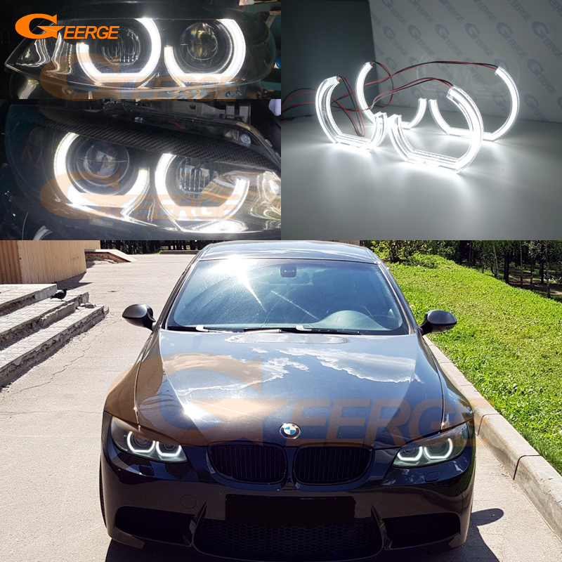 For <font><b>BMW</b></font> 3 Series <font><b>E90</b></font> E92 E93 M3 Coupe cabriolet 2007-2013 xenon <font><b>headlight</b></font> Excellent DTM M4 Style Ultra bright <font><b>led</b></font> Angel Eyes kit image