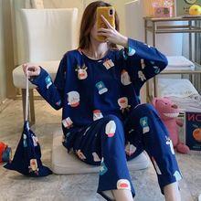 Korean Style Women Pajamas Set Autumn Long Sleeve T-Shirt+Long Pants Casual O Neck Christmas Sleepwear Lounge Wear 2 Pieces Set