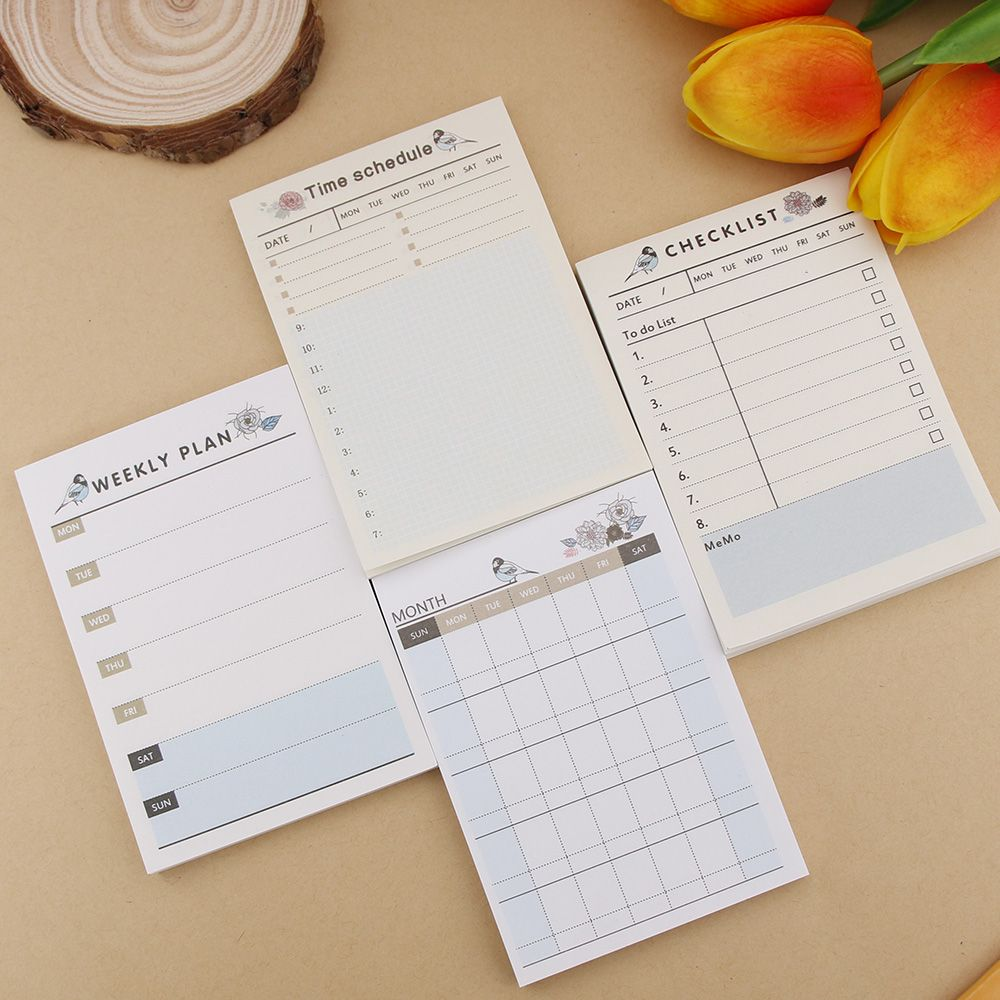 Cute Blue Bird Weekly Monthly Work Planner Sticky Note Agenda Time Schedule Memo Pad 1PCS