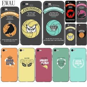 EWAU HAIKYUU!! Karasuno Nekoma Crest Soft Silicone phone case for iphone 12 Mini X XR XS 11 Pro Max SE 2020 5 5s 6 6s 7 8 plus