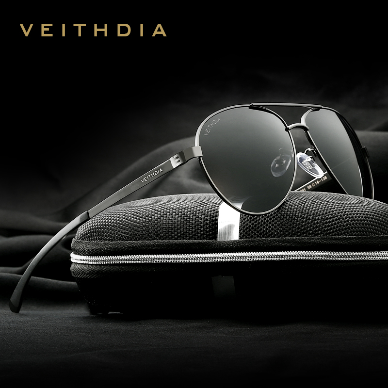 VEITHDIA Brand Brand Designer de aluminiu Magneziu care conduce ochelari de soare lentilă cu oglindă polarizată Ochelari de soare pentru bărbați 3801