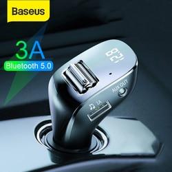 Baseus-cargador USB para coche, transmisor FM Bluetooth 5,0, modulador Aux para teléfono móvil, reproductor MP3 de Audio manos libres