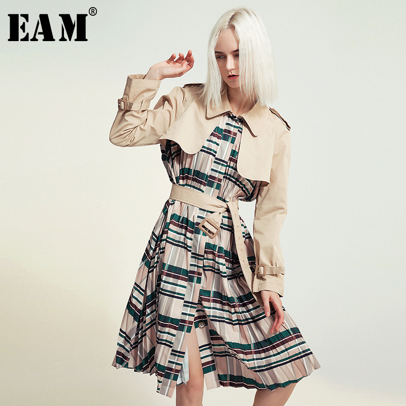 [EAM] Women Belt Pleated Hit Color Trench New Lapel Long Sleeve Loose Fit Windbreaker Fashion Tide Spring Autumn 2020 1B096