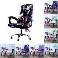 Housse de chaise d'ordinateur de bureau rotative couverture imprimée Spandex housse de siège extensible chaises de bureau amovibles housse de chaise en silicone