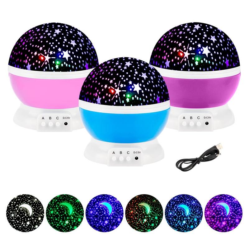 Galaxy Projector Starry Sky Rotating LED Night Light Planetarium Children Bedroom Star Night Lights Moon Light Kids Gift Lamp 1