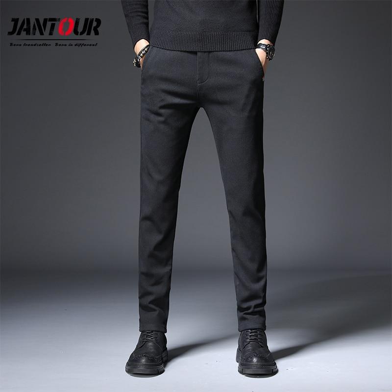 mens casual pants slim skinny dress pants trousers size 28-36 black gray winter