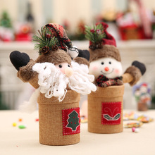 2019 DIY Christmas burlap Santa Claus snowman candy jar traditional rustic color New Year Xmas Party candy jar Christmas gift 1pc lovely christmas candy jar snowman santa claus pattern candy jar for children gift festive party supplies