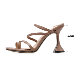 Image 4 - Kcenid Vintage square toe slippers women strange high heels sandals concise narrow band ladies shoes flip flops party shoes new