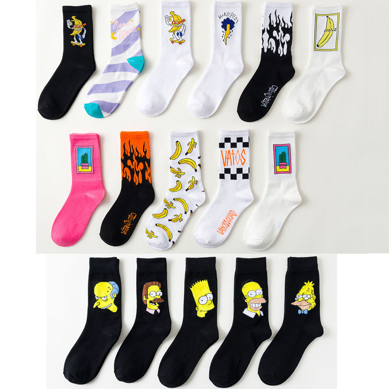 2020 Hip Hop Happy Socks Funny Cotton Socks For Men And Women The Simpsons Novelty Cute Socks Black Mid-high Socks Gifts For Men