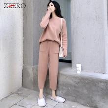 Women Outfits Cashmere Sweater Two Piece Sets Tracksuit 2019 Autumn Winter Fashion Sweatsuits Sport Suit Female Knit Pant Set
