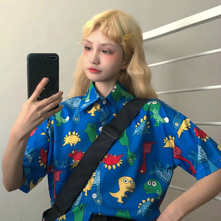 Korean Harajuku Women Shirts Dinosaur Printed Short Sleeve Blouse 2019 Summer Single Breasted Blusas Streetwear 52964