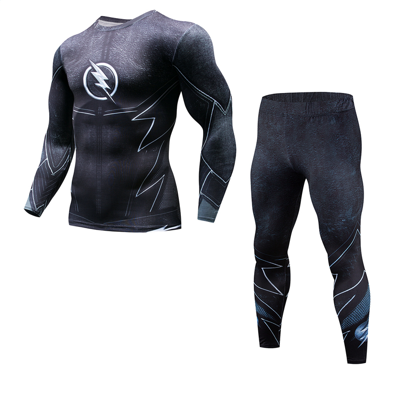 2019 Super Hero Fitness MMA Compression Shirt Male Anime Bodybuilding Long Sleeve 3D T-shirt Top + Sweatpants Men's Suit