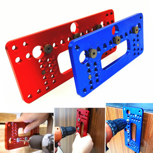 Image 1 - Hole Handle Pitch Punch Locator  Woodworking Aluminum Alloy Pocket Jig Set Wardrobe Door Cabinet Positioner Drill Guide Sleeve