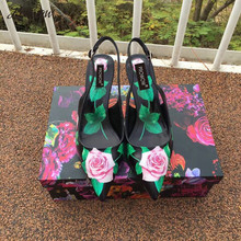 Prowow New Genuine Leather Ross Printed HIgh Heel Pumps Sexy Pointed Toe Sling Back Kitten Heel Pumps Design Shoes Women