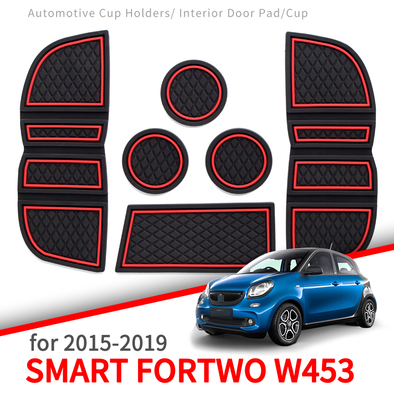 ZUNDUO Anti-Slip Gate Slot Pad For Smart 453 Fortwo W453 Cup Holders Mat Non-slip Mats Accessories Rubber Coaster White Luminous
