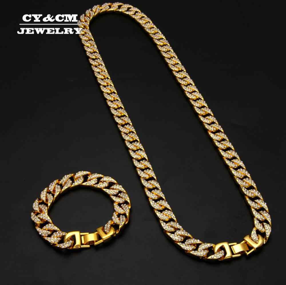 Hip Hop helado Miami Cuban Link Chain para hombres Bling Crystal strass CZ rapero oro plata Color collar joyas pulseras