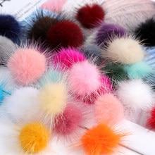 Pompon otter de pelo 3cm para cabelo, bolinhas coloridas de pompon macio diy, acessórios para decoração de cabelos, chapéus e roupas
