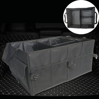 New Black Car Storage Folding Collapse Bin Bag Trunk Cargo Storage Boxes Organizer SUV Car Useful Storage Box image