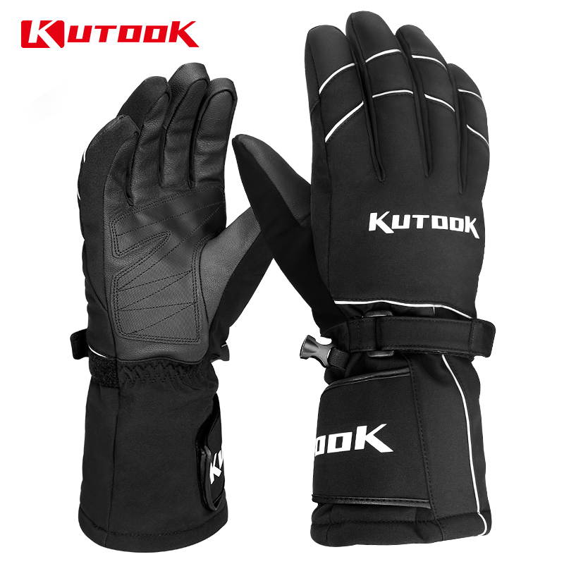 KUTOOK Winter Ski Gloves For Men Women Skiing Thermal Touch Screen Waterproof Snowmobile Thicken PU Breathable Snowboard Gloves